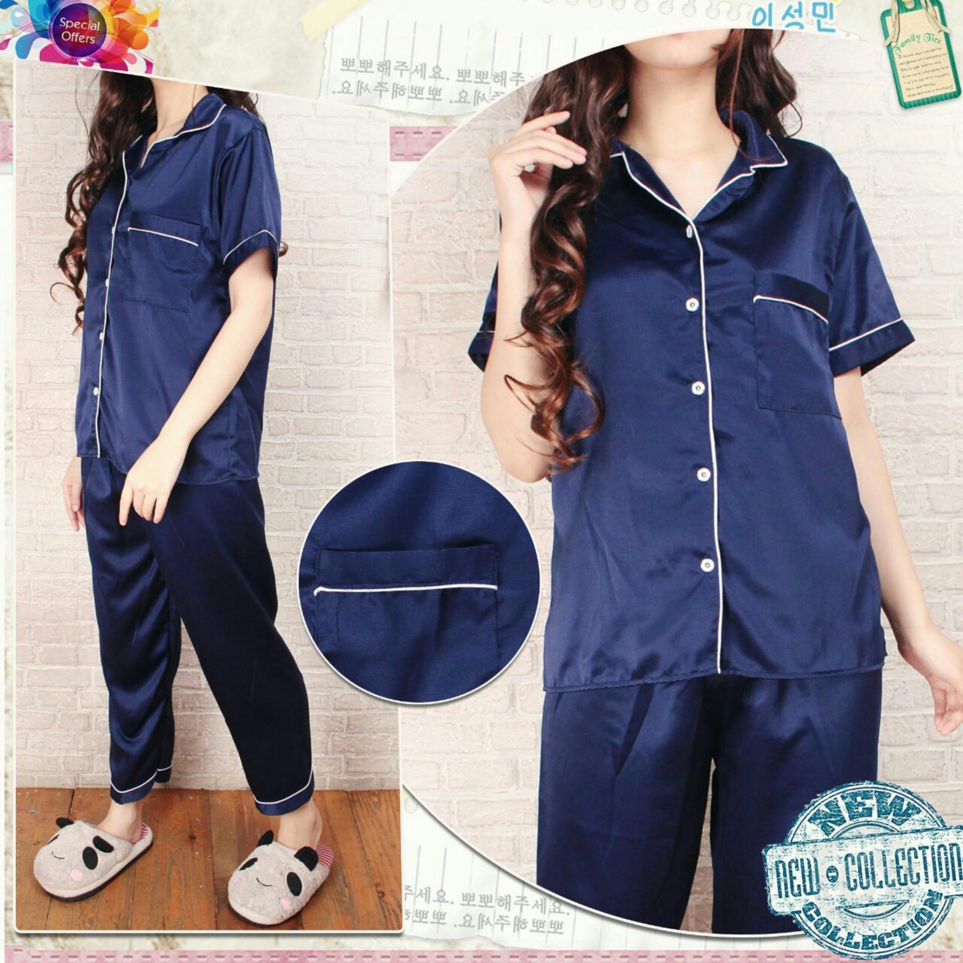 Baju Tidur Wanita Fashionable - Baju Santai Wanita - Pajamas Satin Panjang