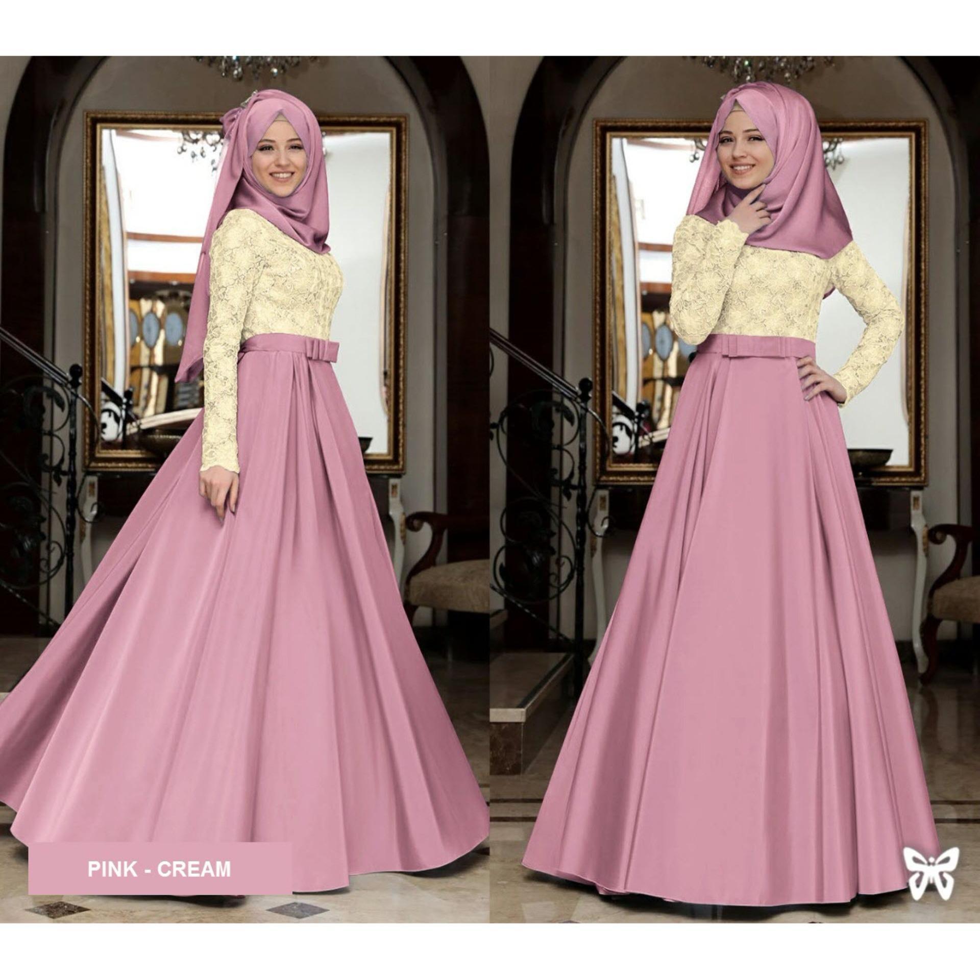 Flavia Store Maxi Dress Lengan Panjang Set 2 in 1 FS0720 - DUSTY PINK / Gamis Syari / Gaun Pesta Muslimah / Baju Muslim Wanita Syar'i / Hijab / Srmahira