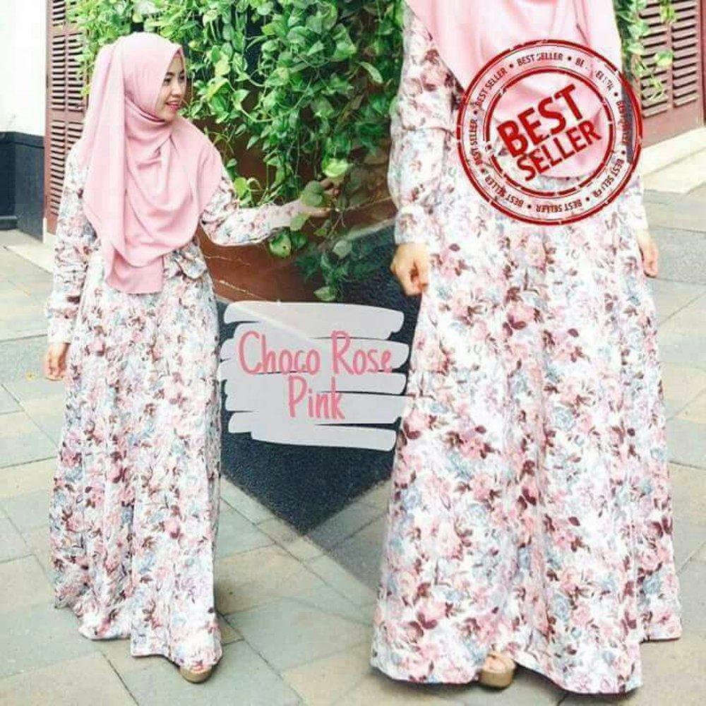 Gamis Katun Jepang Syarí Baju Muslim Fashion Wanita Muslim Motif Bunga Sakura Clasic Bahan Adem Tidak Mudah Kusut