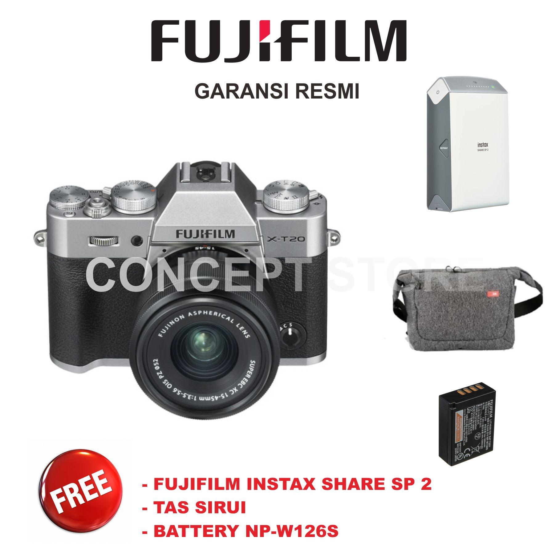 Fujifilm Xt 20 Mirrorless Camera With Kit Xc 18 55mm Hitam Instax X A5 15 45mm F35 56 Ois Pz Dark Silver Pwp Xf 50mm F2 45 Mm Xt20 T20