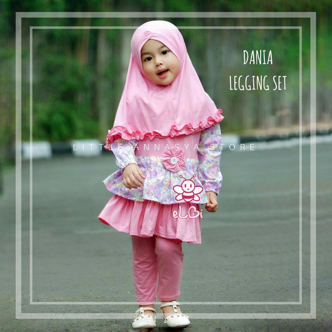Baju Muslim Bayi Perempuan / Gamis Bayi / Baju Muslim Anak / Baju Pesta Muslim Bayi / Dania Legging Set (1-2thn)