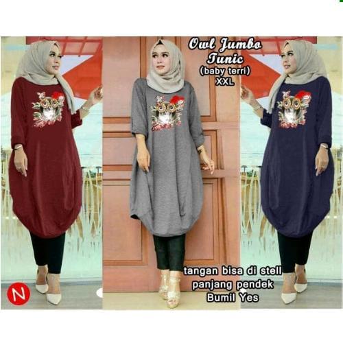Baju owl jumbo tunic/baju tunik jumbo/atasan muslim bigsize