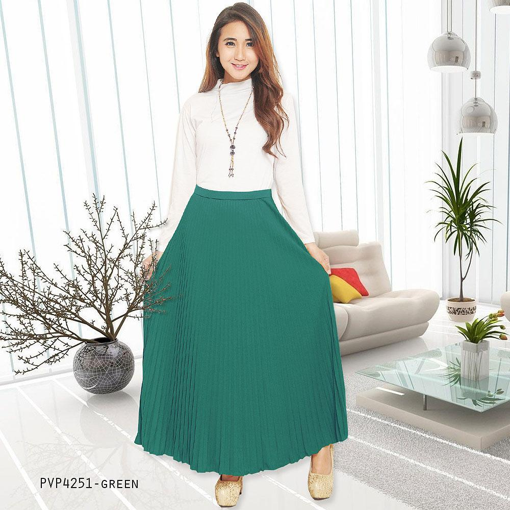 JO & NIC Pleated Long Skirts - Rok Panjang Lipit Fit to XL - Green