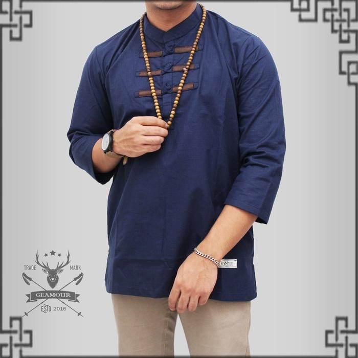 LANZ baju koko pria model kancing cina best seller fashion muslim pria