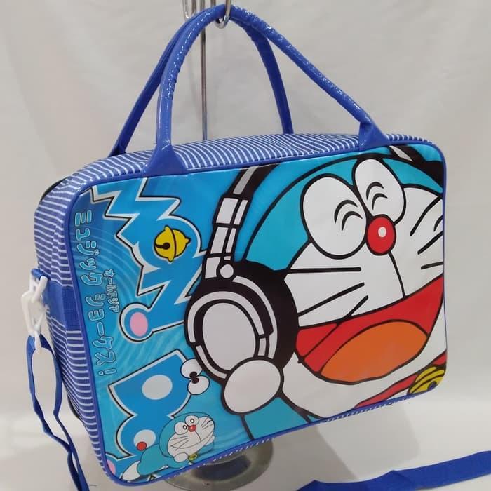 Tas travel bag koper selempang anak doraemon  dora emon ukuran besar murah