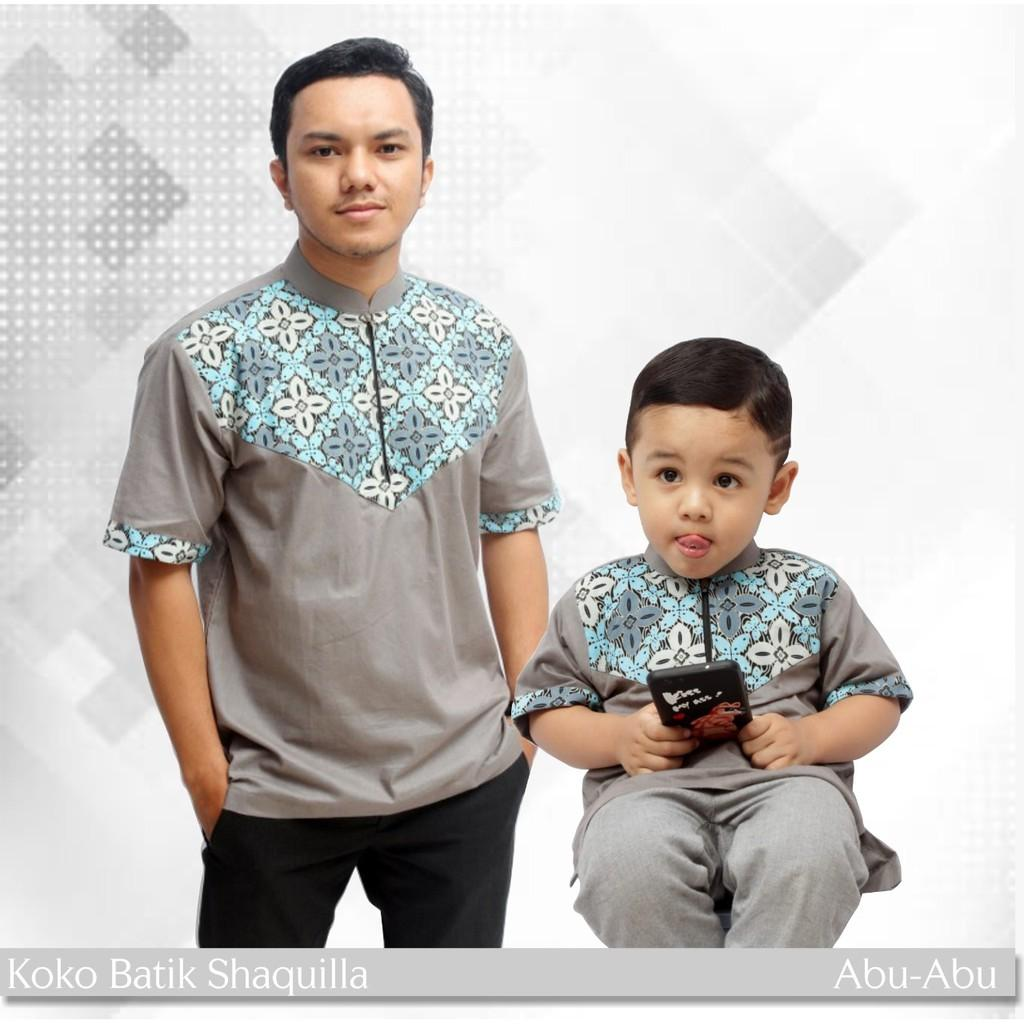 Koko Batik Katun Couple Warna Abu (Anak M)