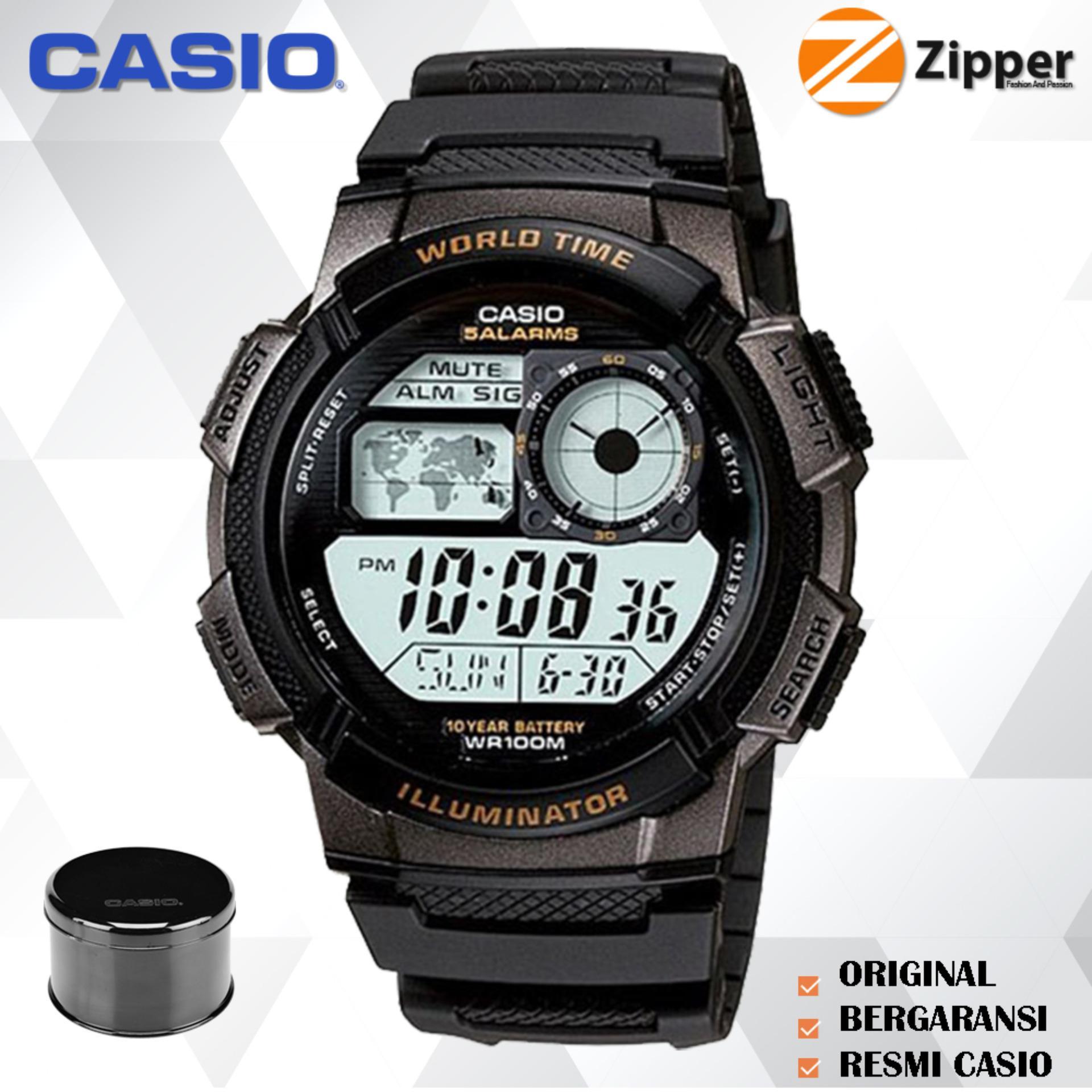 Casio Illuminator Jam Tangan Digital AE-1000W-1AVDF Youth Series - Tali Karet