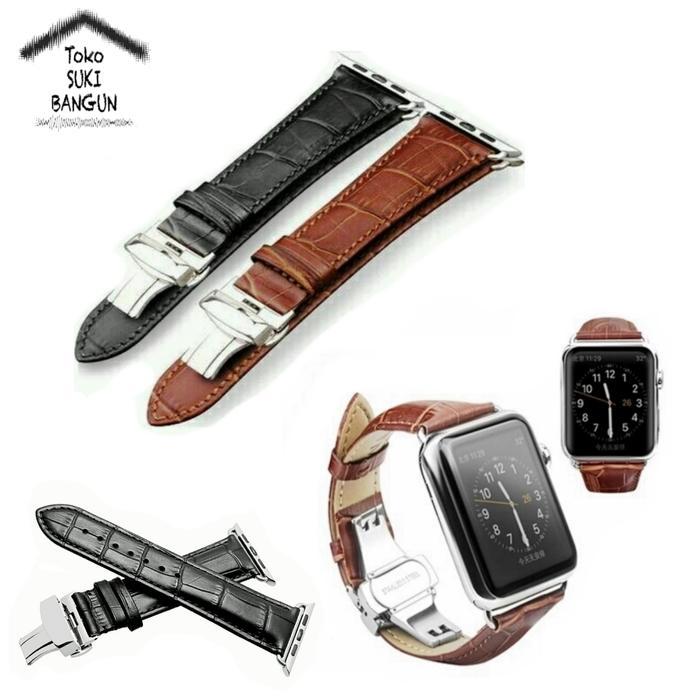 HOT SPESIAL!!! 42Mm Apple Watch Iwatch Tali Jam Kulit Leather Butterfly Folding Strap