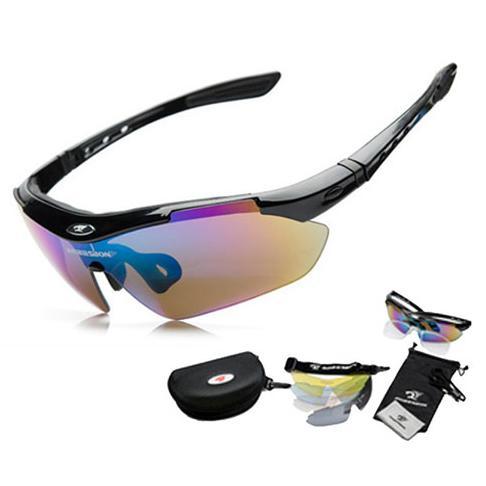 Rimas ROBESBON Kacamata Sepeda dengan 5 Lensa Myopia - Black