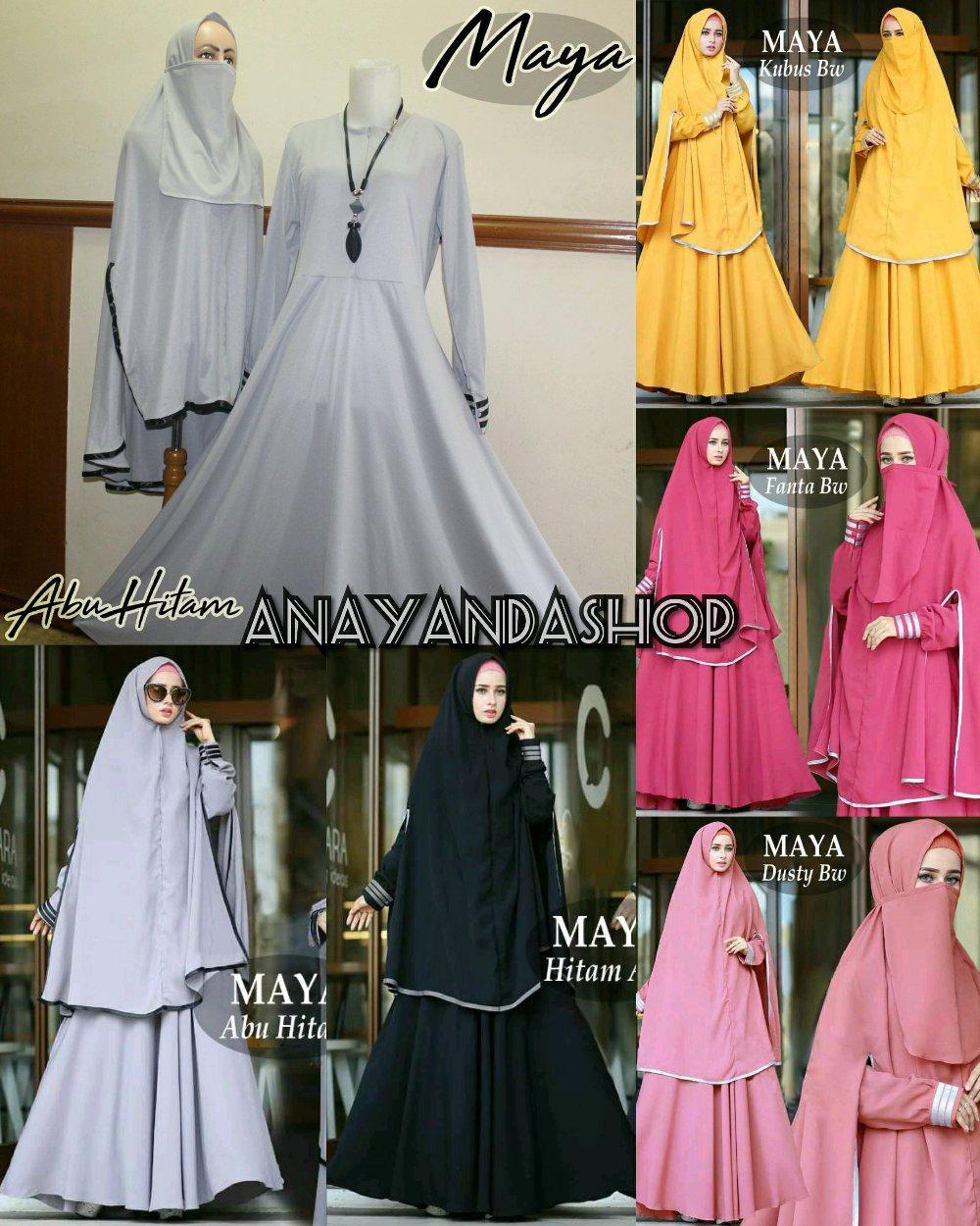 Maya Syari Gamis Maxi Dress Polos Jumbo fit M to XXL Plus Khimar Free cadar Niqob di lapak anayanda shop anayandashop