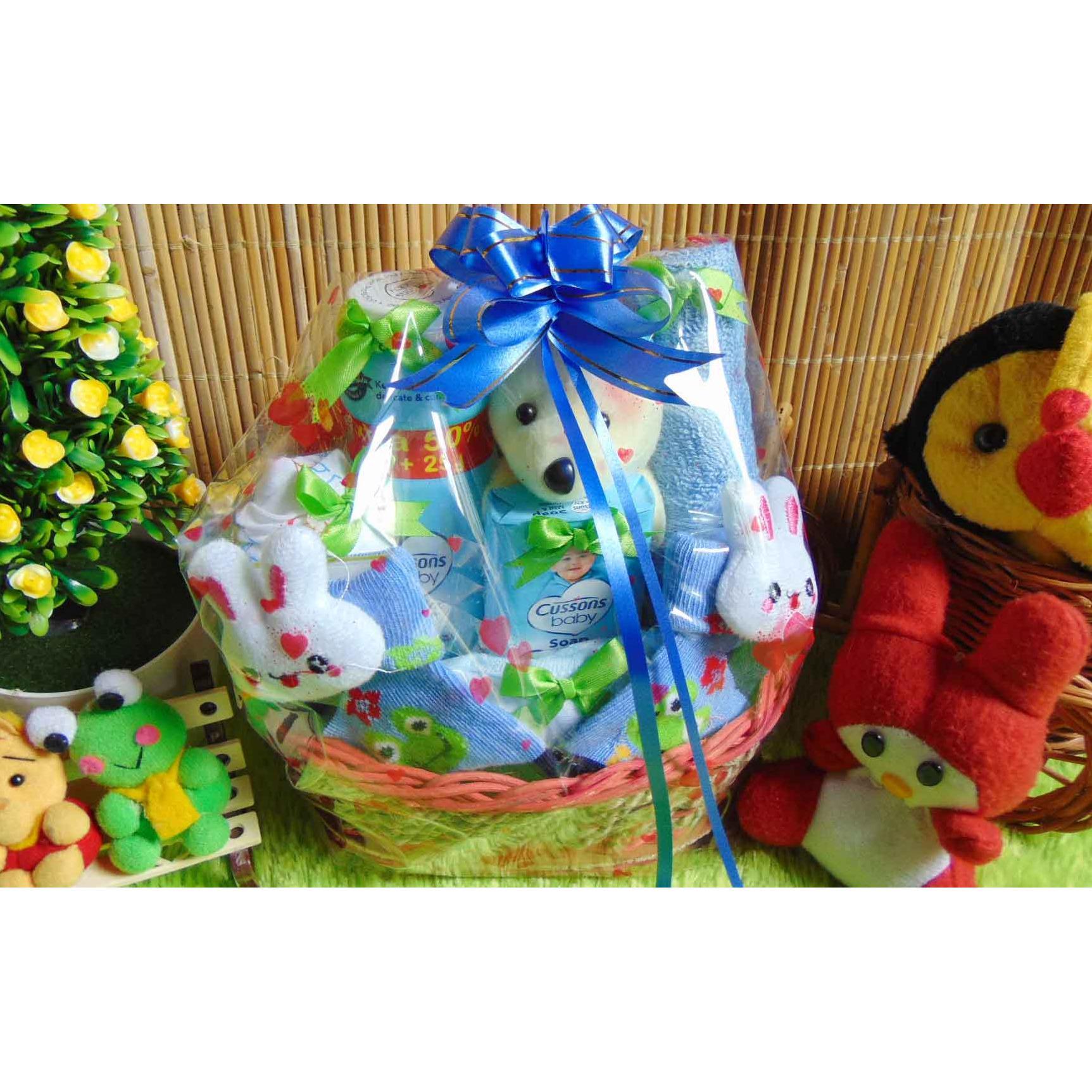 paket kado bayi baby gift – kado melahirkan-parcel kado bayi – parsel bayi – keranjang rotan cute oval komplit ANEKA WARNA