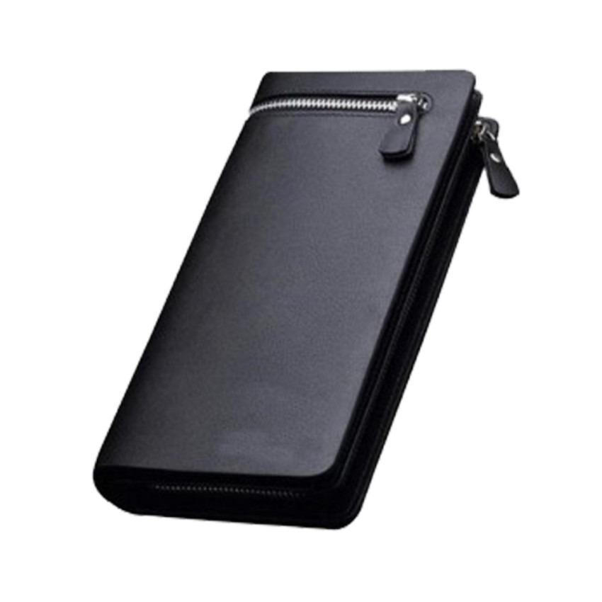 Dompet Business Men's Zipper PU Leather Long Section Multicard WalletPurse Handbag - Hitam