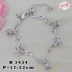 Gelang Titanium Rantai Silver Pita R 3434
