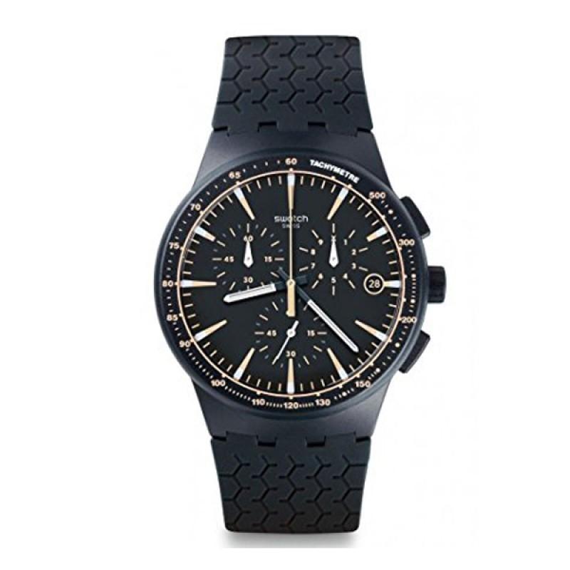 Swatch - Jam Tangan Pria - Hitam-Hitam - Rubber Hitam - SUSN407