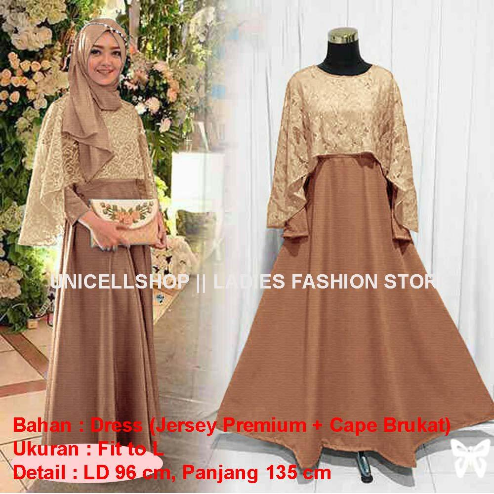 Toko atasan wanita Baju Muslim Original Gamis Aiswa Maxi Dress Brukat Cape  Baju Lengan Panjang Muslim 30e2a9fa4b