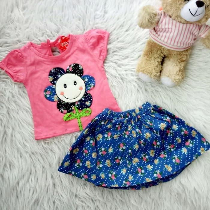Setelan Baju Rok Bayi Anak - Smiling Flower