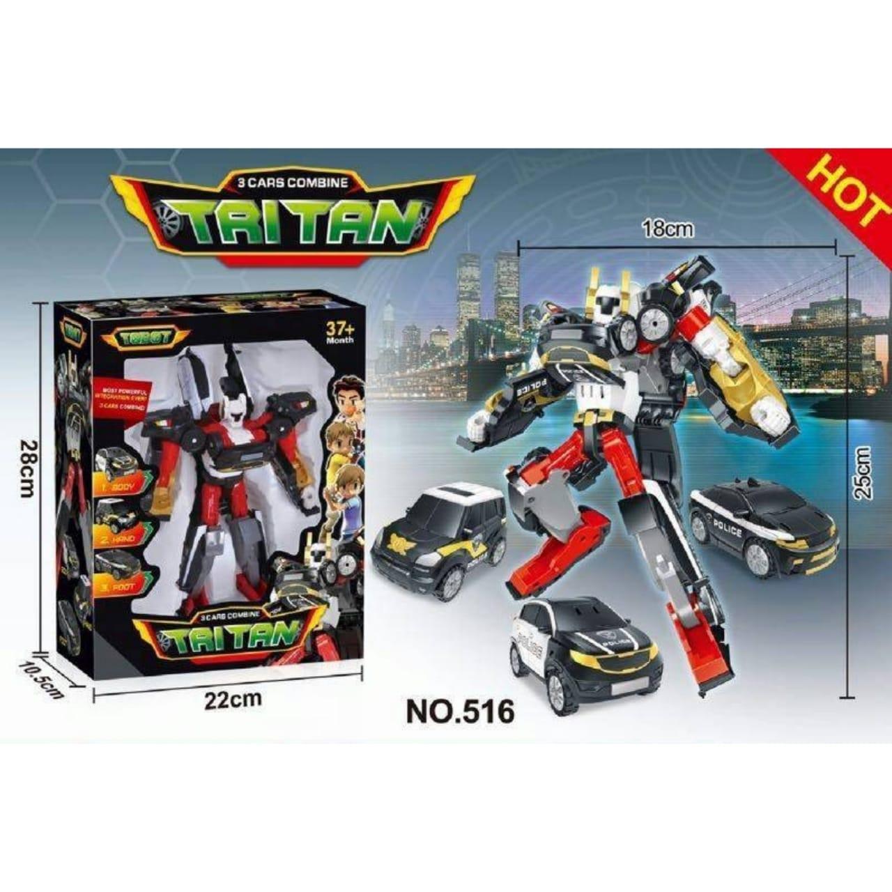 Mainan Koleksi Terlengkap Termurah Anak Telepon Tobot Tritan Hitam Merah Putih 516 Mini Ukuran Robot 25cm