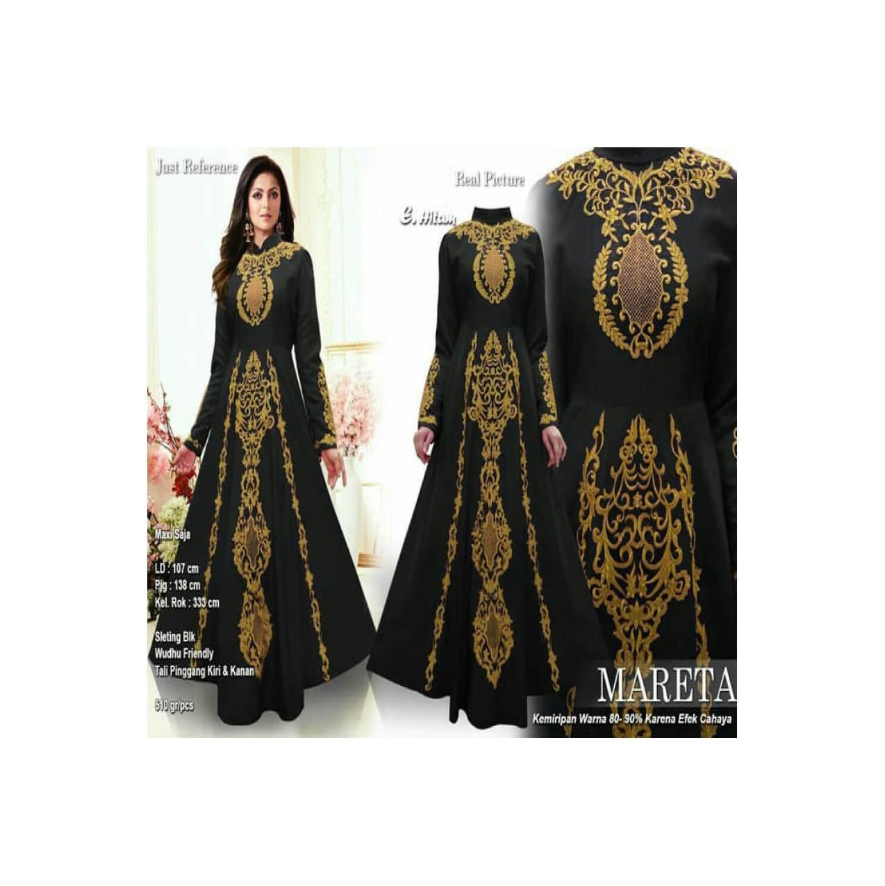 baju muslim wanita terbaru 120124 GAMIS PESTA MARETA MEWAH HITAM