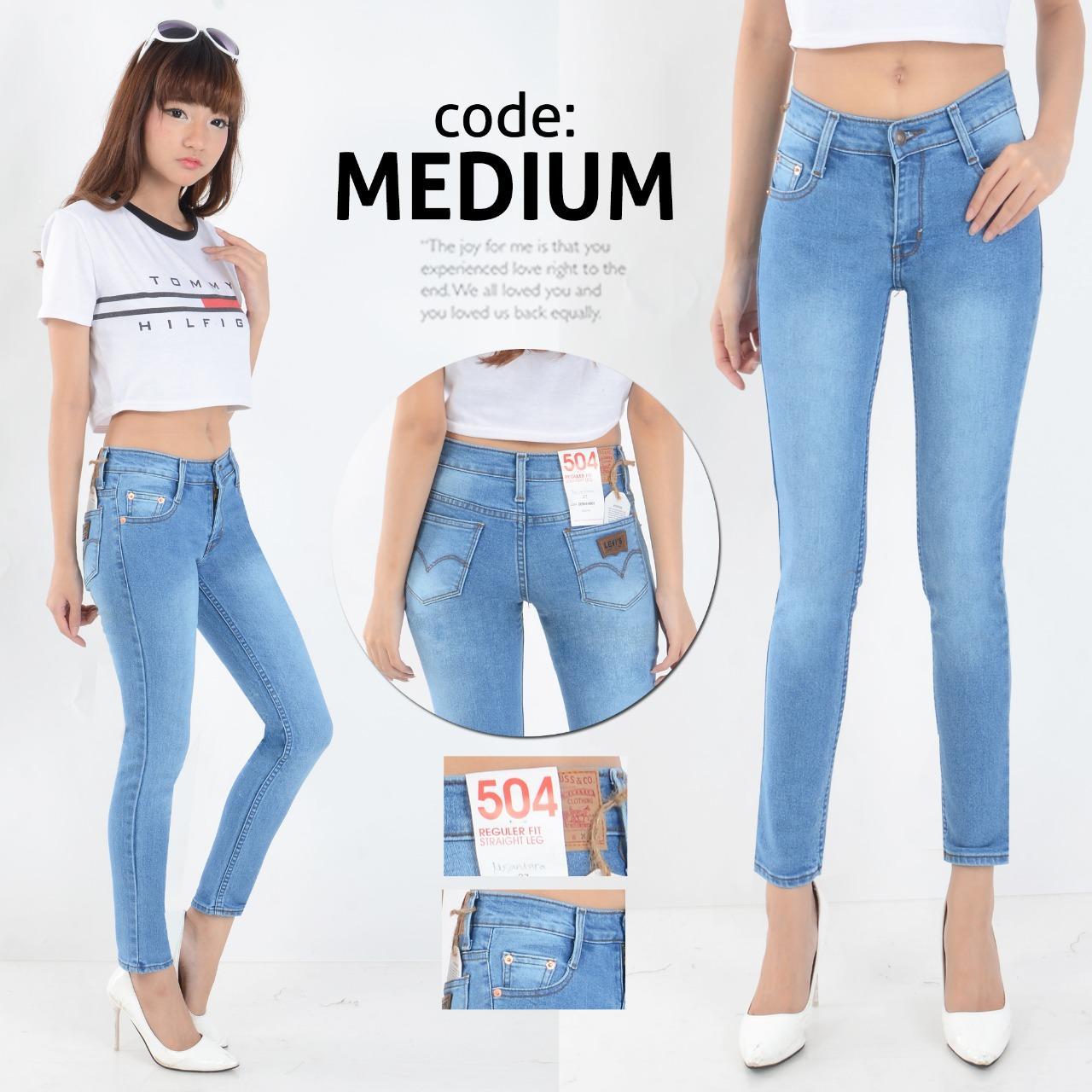 Nusantara Jeans - Celana Jeans Wanita Skinny Ripped Ristleting Erigo Berbahan Denim