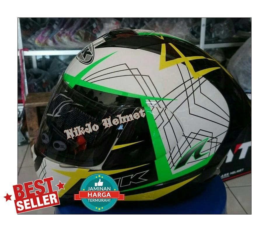 Helm INK CL Max motif hijau putih kuninga