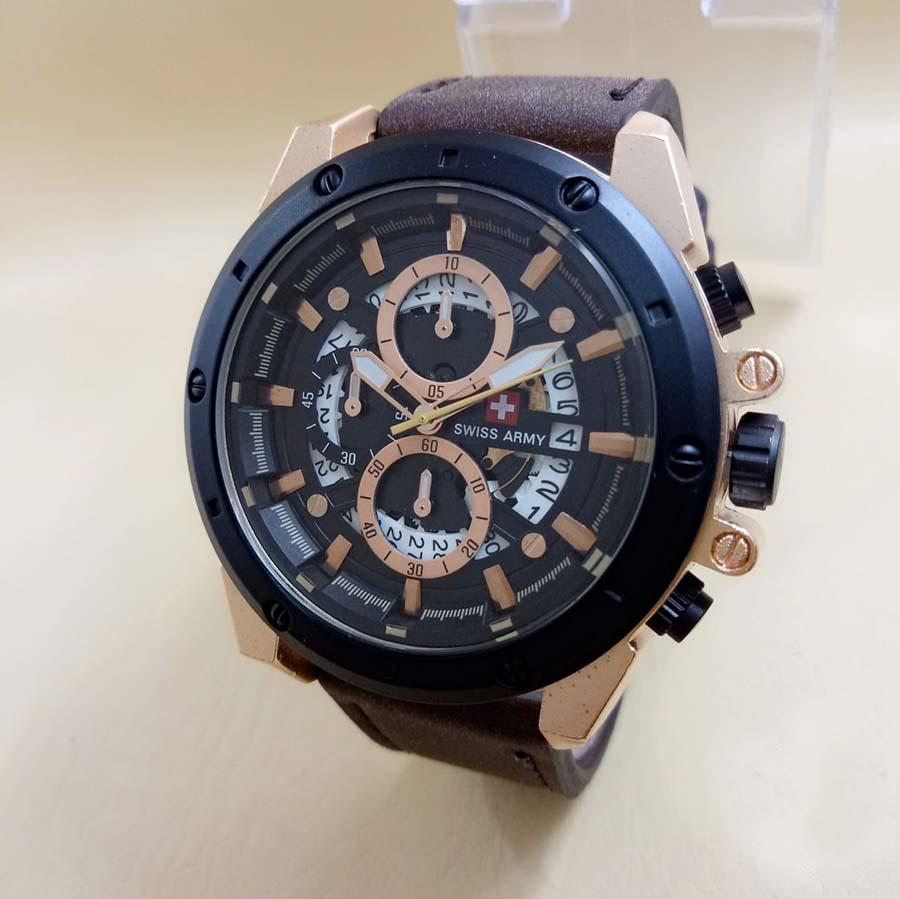 Swiss Army Couple Stainless Steel Silver Sa1570ad Jam Tangan Navy Sn5860 Rosegold Jual 6605 Leather Strap Men Sit180d45ckttrght Chronograph Coklat Tua Hitam Harga Rp 393990