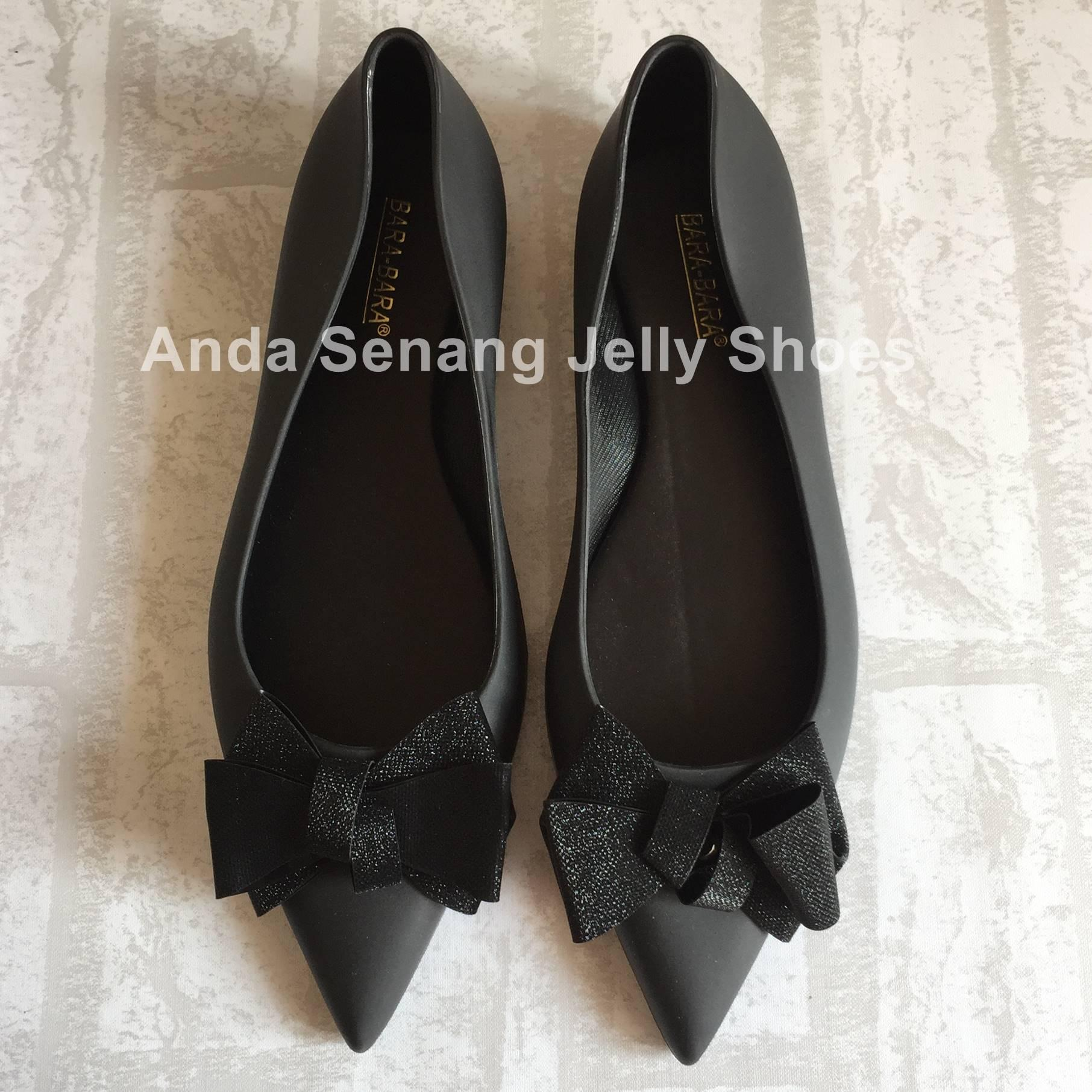 Bara Bara Jelly Shoes Flat Shoes Sepatu Jelly Sepatu Wanita Lancip Model Pita Kode 80223PTGL