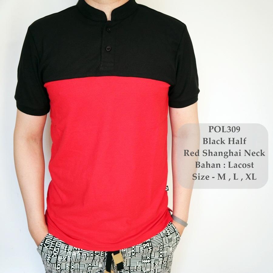 GFS Polo Shirt Hitam Kombinasi / Kaos Polo Shirt Cowok / Baju Sanghai Pria / Baju