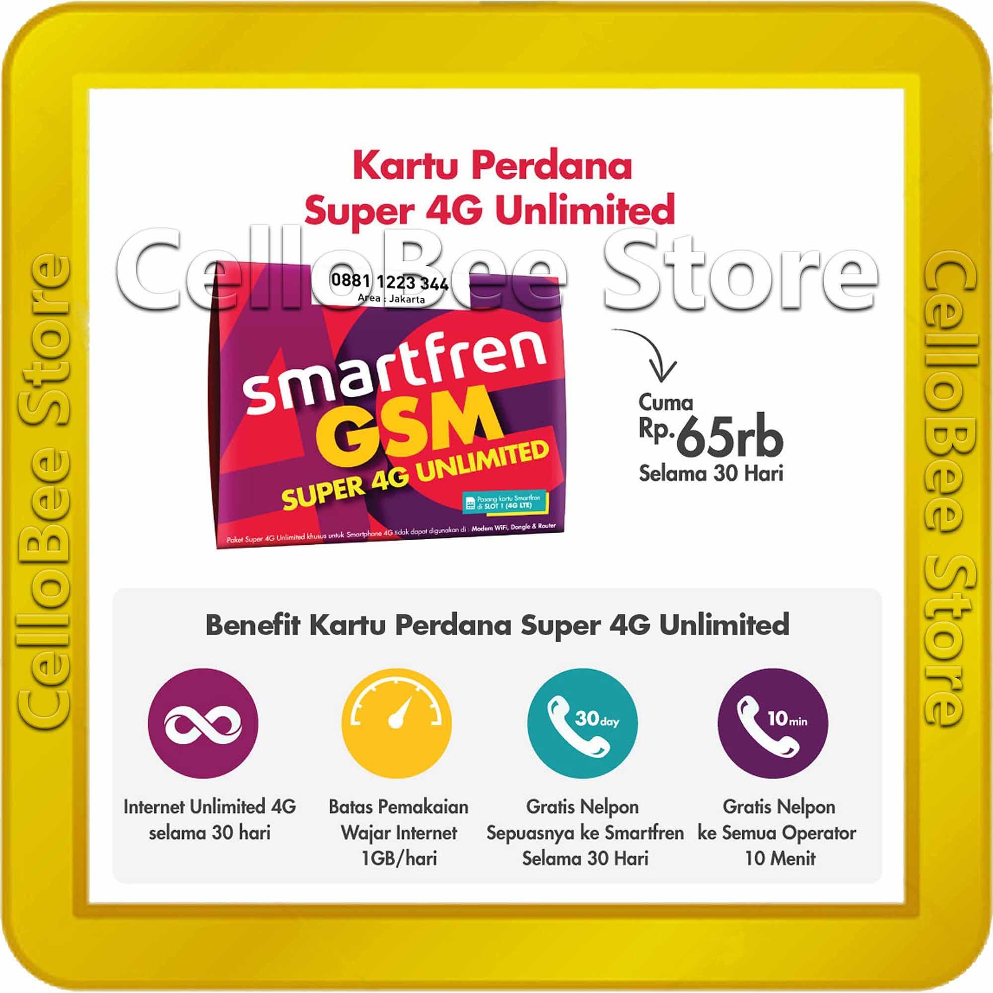 Kartu Sim Perdana Selular Axis Kosong Smartfren Super 4g Kuota Unlimited Internet Data