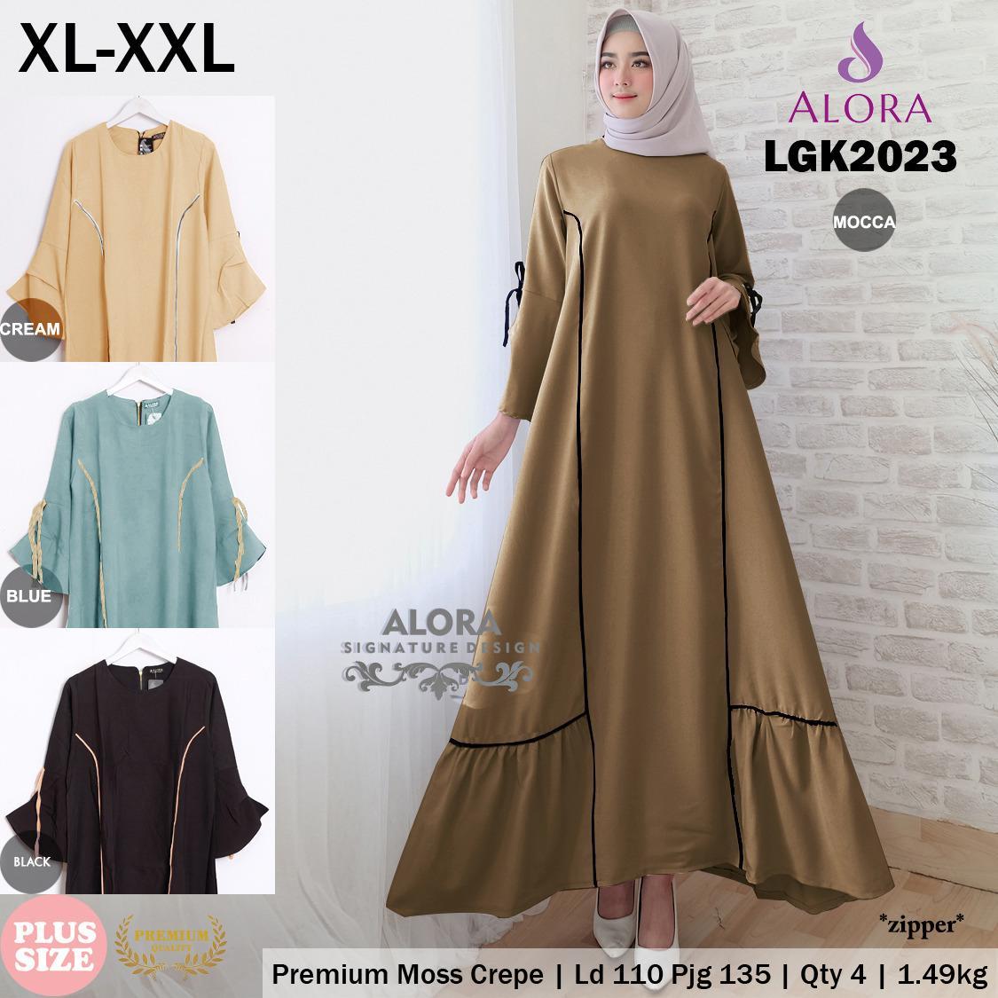 RATU SHOPPING Gamis baju muslim wanita trendy lgk2023 XL XXL jumbo big size jumbo size