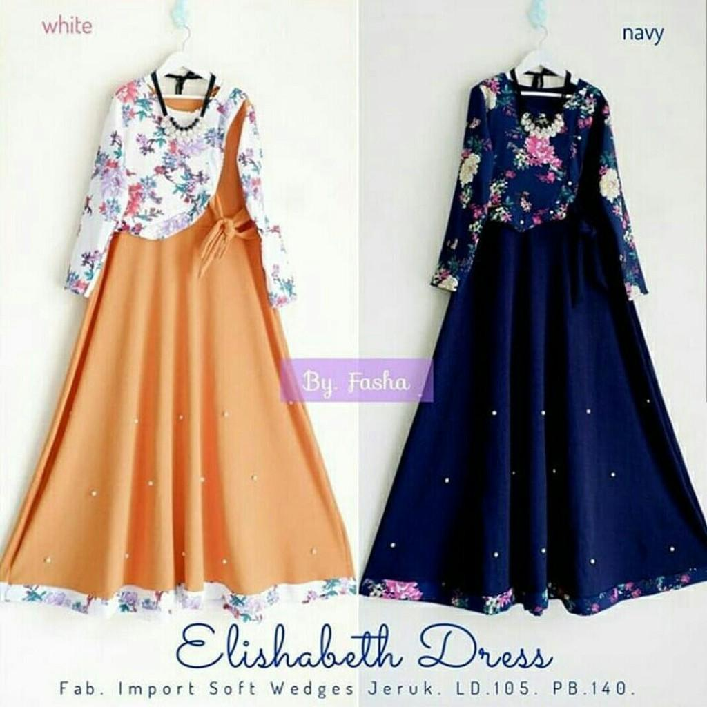 Elizabeth dress / fashion dress elizabet / gamis elizabeth remaja (white)
