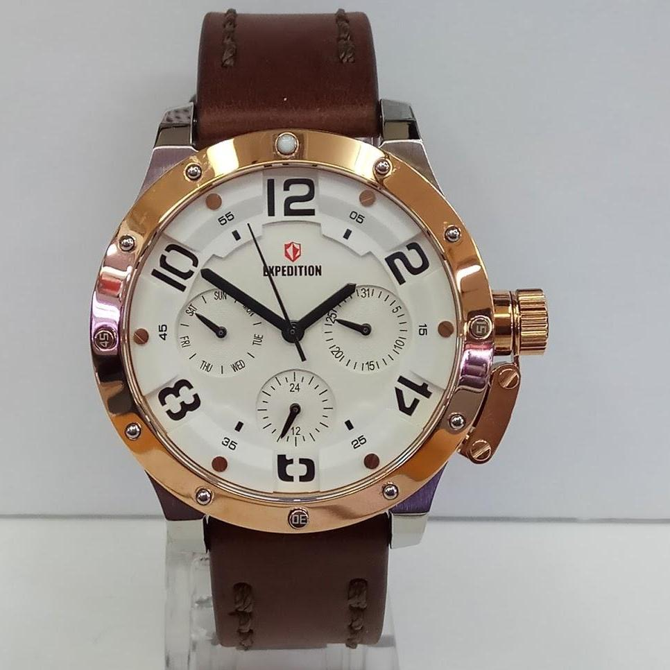Buy Sell Cheapest Expedition 6603mcbbrba Rose Best Quality Product E6700m Black Brown Original Leather Jam Tangan Wanita E6381bf Multifunction Silver Ring Rosegold Strap