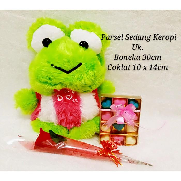 Parsel Valentine Besar (Boneka Keropi + Coklat Valentine + Bunga) - Ft2b4t