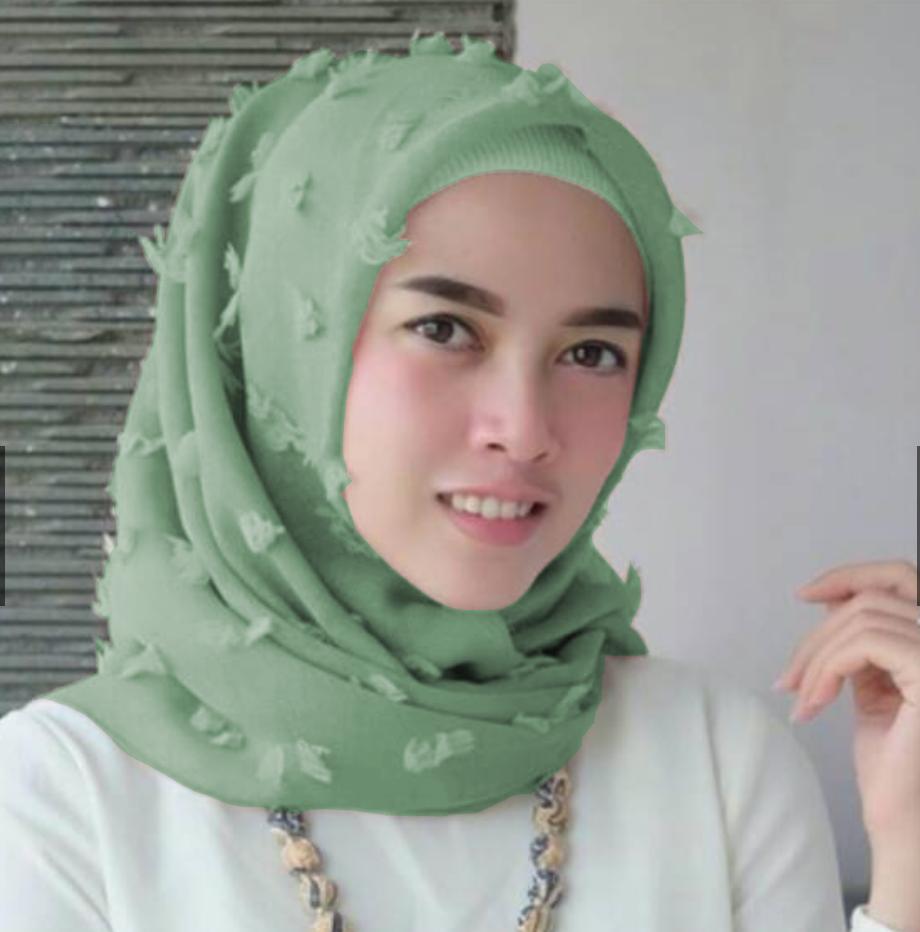 Maula Hijab Jilbab Square Kerudung Segiempat Linen Ruby / Rubiah