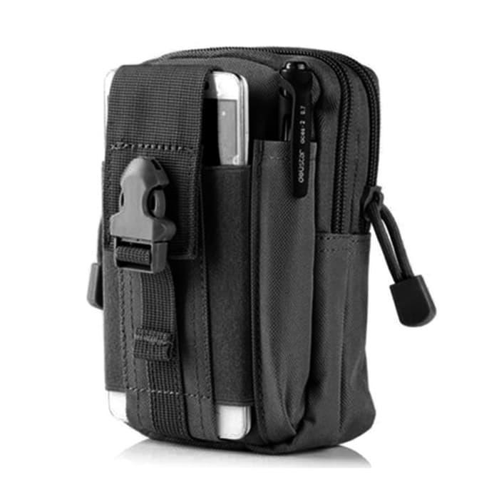 HARGA SPESIAL!!! Pouch Smartphone / Tas Pinggang Hp Tactical ( Black ) - fAlFbr