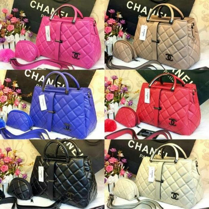 Tas Hand Bag Branded Wanita Cantik Berkelas  Tas Batam Bag Chanel lidah Murah Wanita Pesta Wanita Import Wanita - Hitam