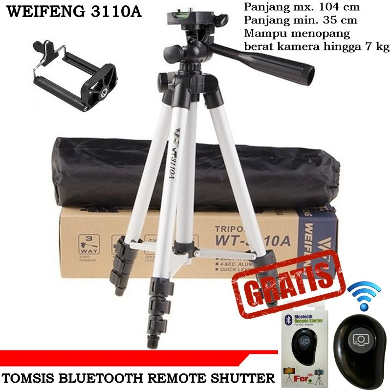 Weifeng Tripod For Camera & smart phone WT3110A + Free Remote Shutter Daun Variant color