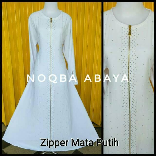 Exclusive Abaya Gamis Jubah Dress Putih Arab Saudi Zipper Mata Baju Umroh Mekkah Madinah Polos Haji (M)