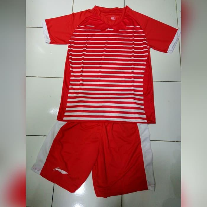 BEST SELLER!!! Setelan Baju Badminton / Bulutangkis Lining #L23 Merah - 62tHam