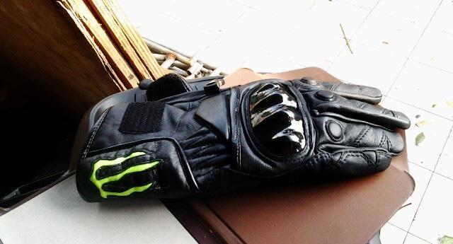 MONSTER Energy leather gloves , sarung tangan asli kulit