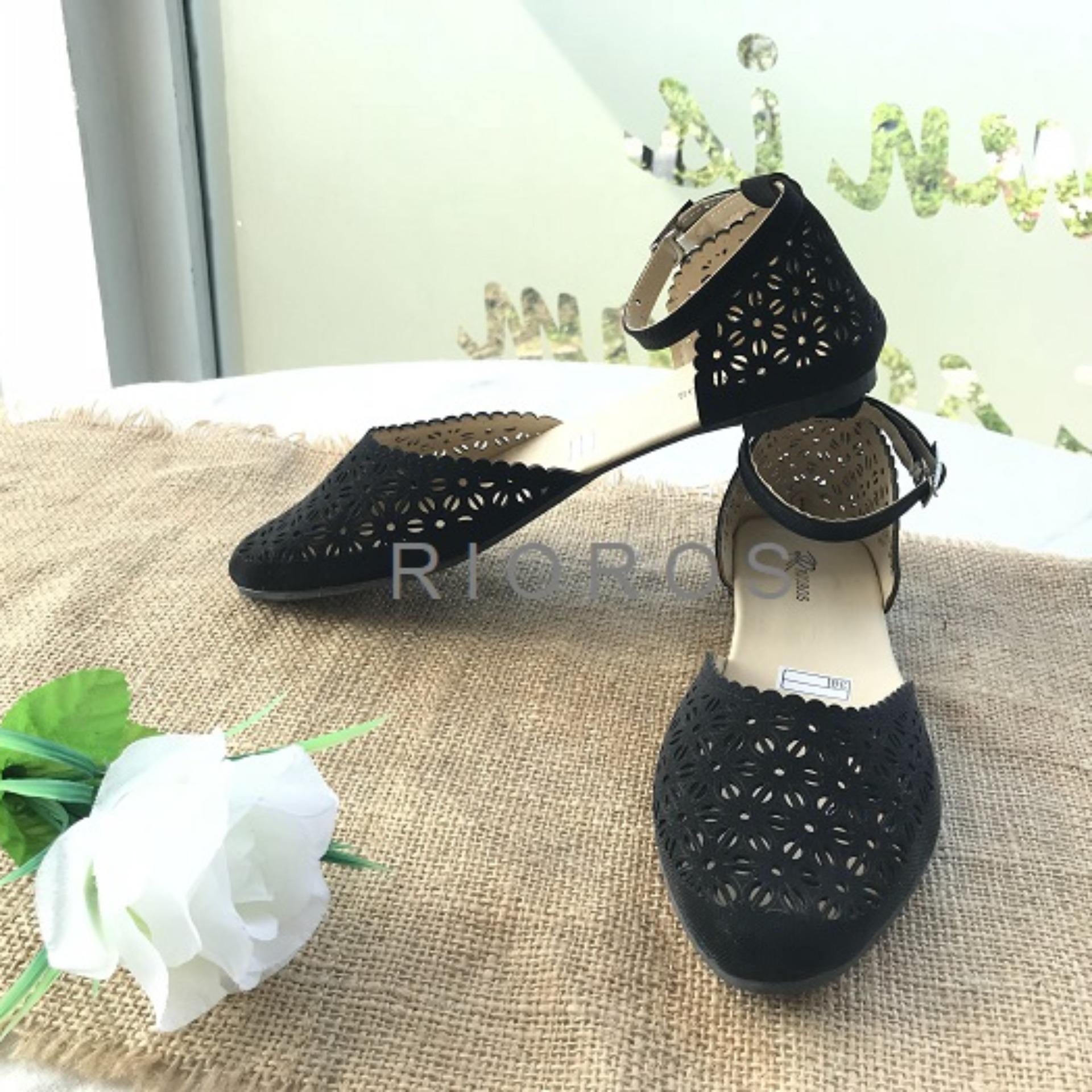 Buy Sell Cheapest Rioros Sepatu Kets Best Quality Product Deals Wanita Flat Shoes Laser Belakang Cream Cut Off Ankle Strap Stella Hitam