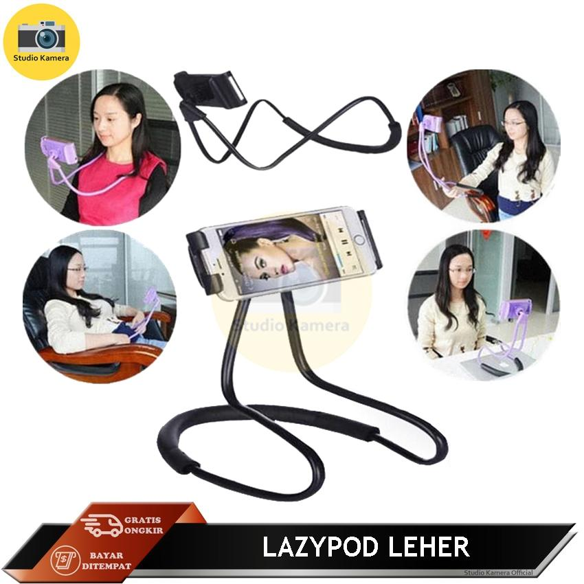 Studio Kamera - Lazypod Leher Universal Flexible Lazy Hanging On Neck Phone Holder 360° Rotating Bracket For Iphone Samsung Up To 10inch By Studio Kamera.