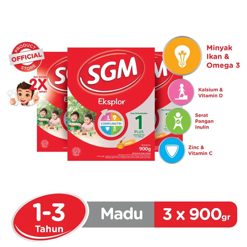 SGM Eksplor Complinutri 1+ Susu Pertumbuhan - Madu - 900gr - Bundle isi 3 Box