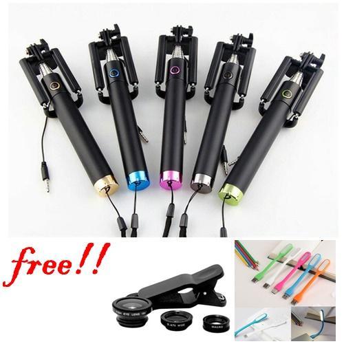 Tongsis Kabel Full Black + Free Clip Lens Fish Eye 3in1 + Lampu LED USB