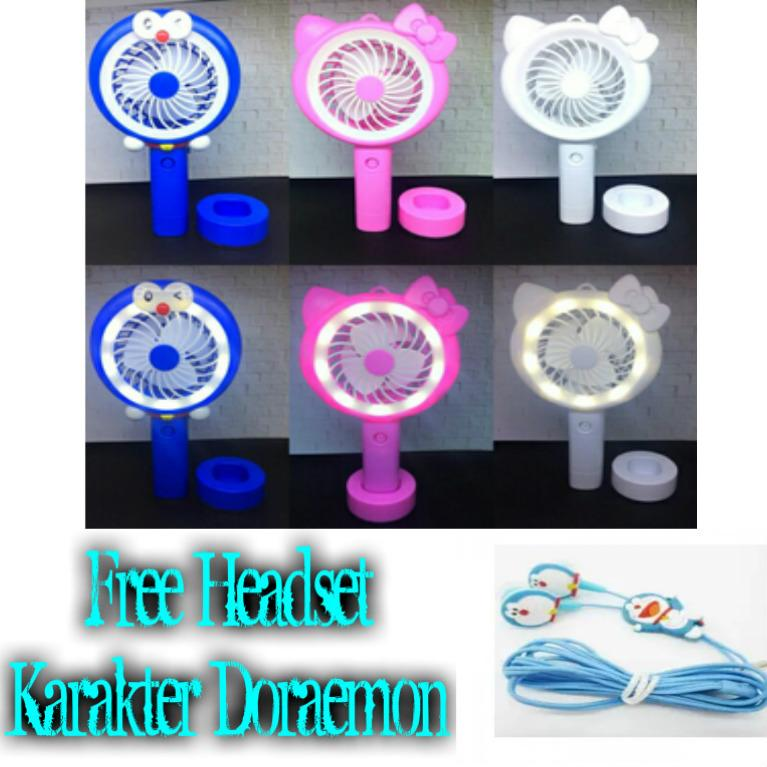 Best Top Seller!! Kipas Angin Lampu Led Hand Mini Fan Usb Portable Karakter Doraemon Free Headset Karakter Doraemon - HKN