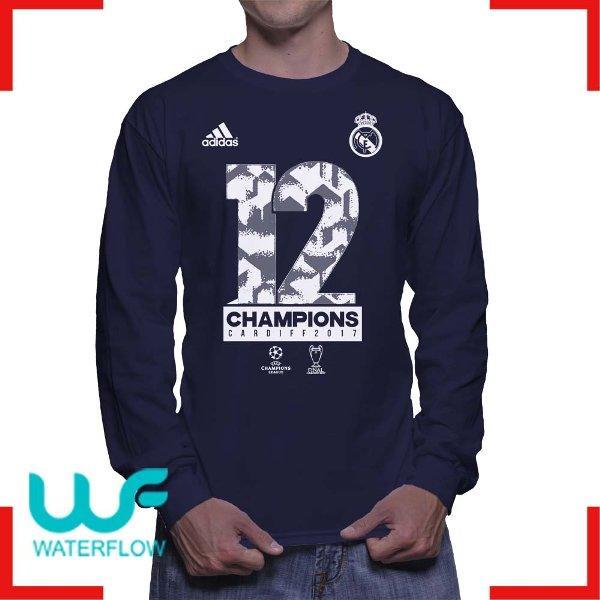 Kaos Real Madrid DUO DECIMA Lengan Panjang Biru Dongker Navy Champion