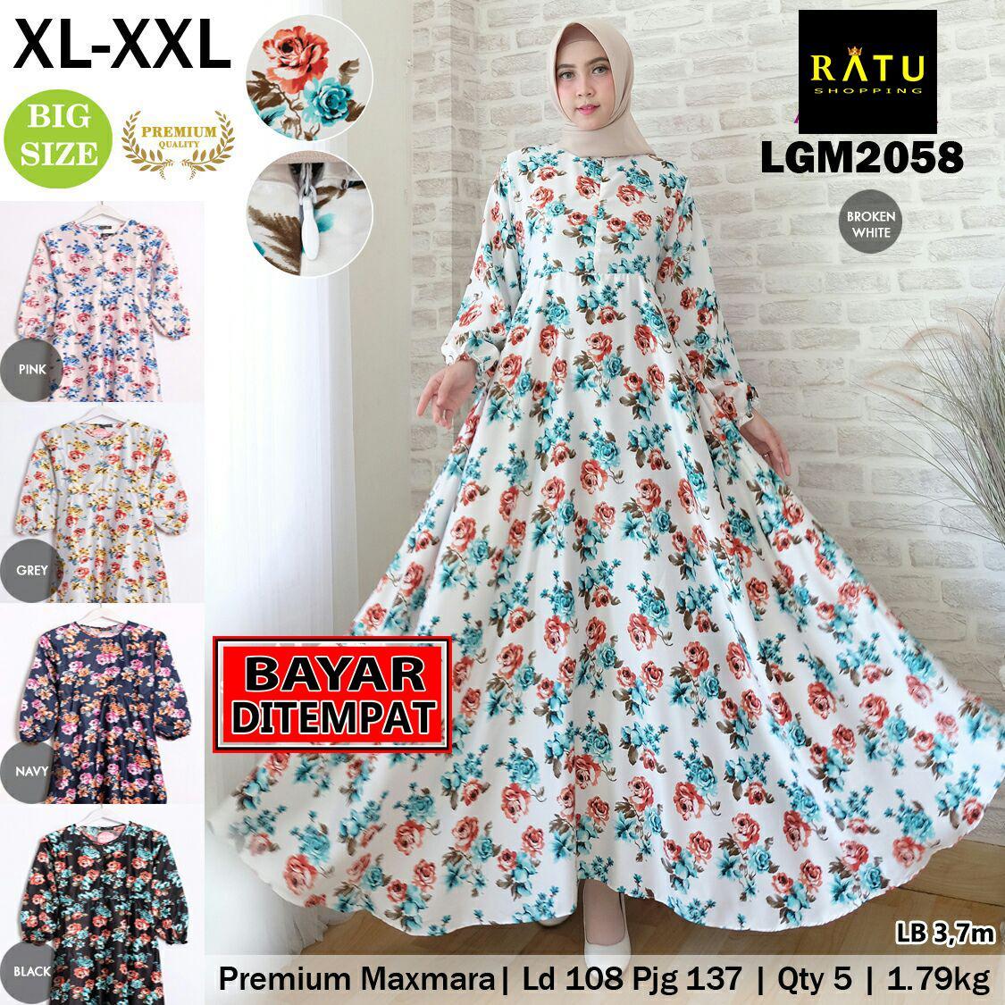 RATU SHOPPING  Gamis premium maxmara xl xxl LGM2058 Jumbo big sze super besar motif bunga baju gamis ramadhan lebaran spesial