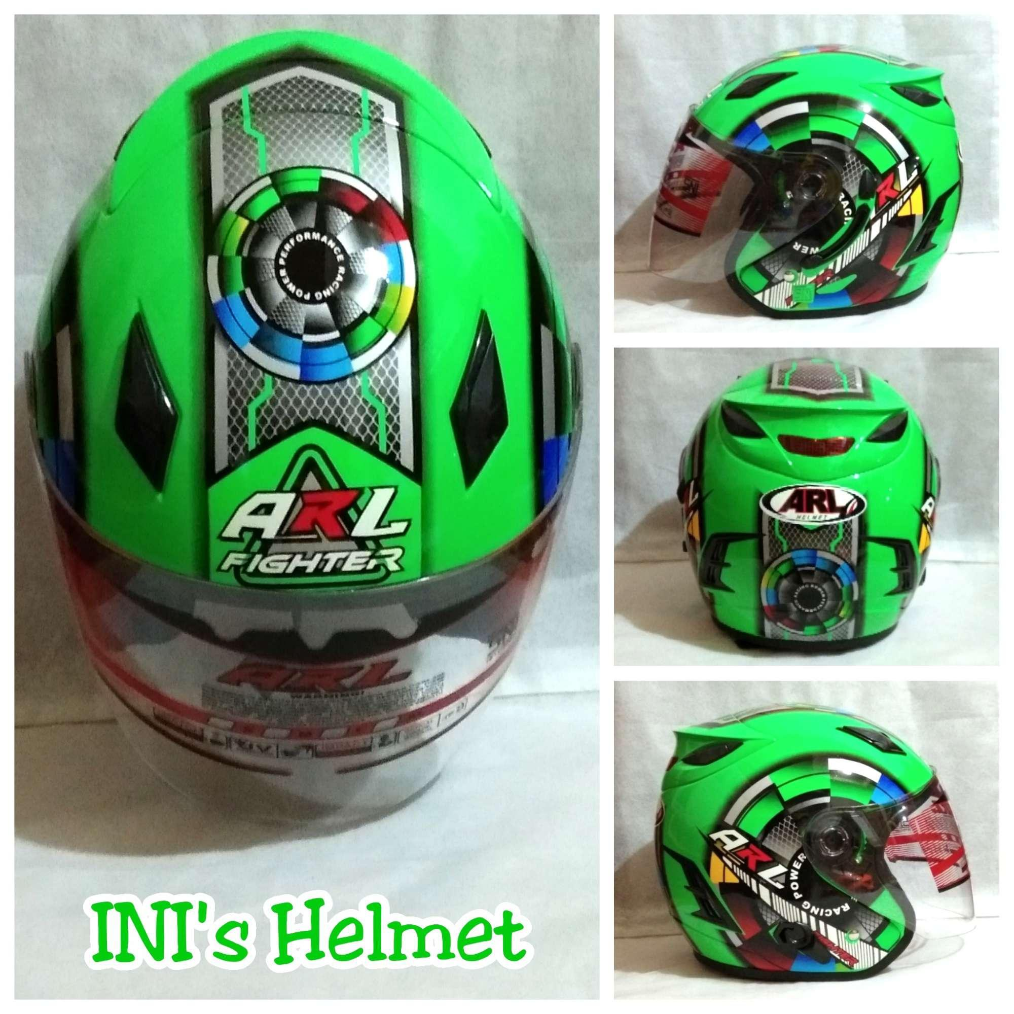Helm ARL Centro Double Visor 2 Kaca Motif Hijau Fighter