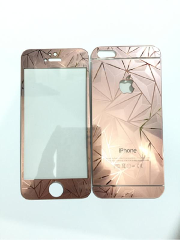 K-Box Premium 3D Diamond Rose Gold Tempered Glass Screen Protector for iPhone 5 Depan Belakang