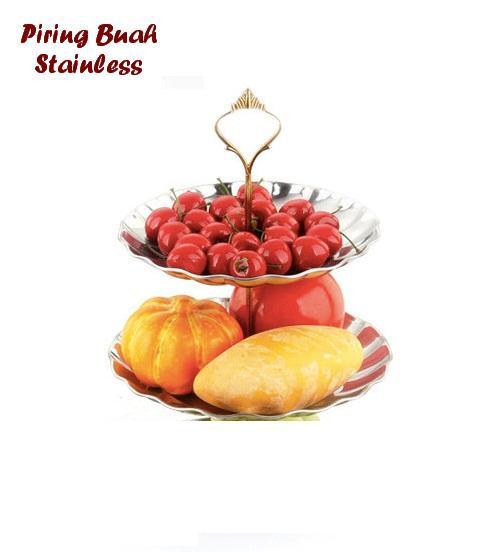 Paling Laku Fruit Plate Piring Buah/ Kue/ Permen Stainless 2 Susun Bisa utk tempat