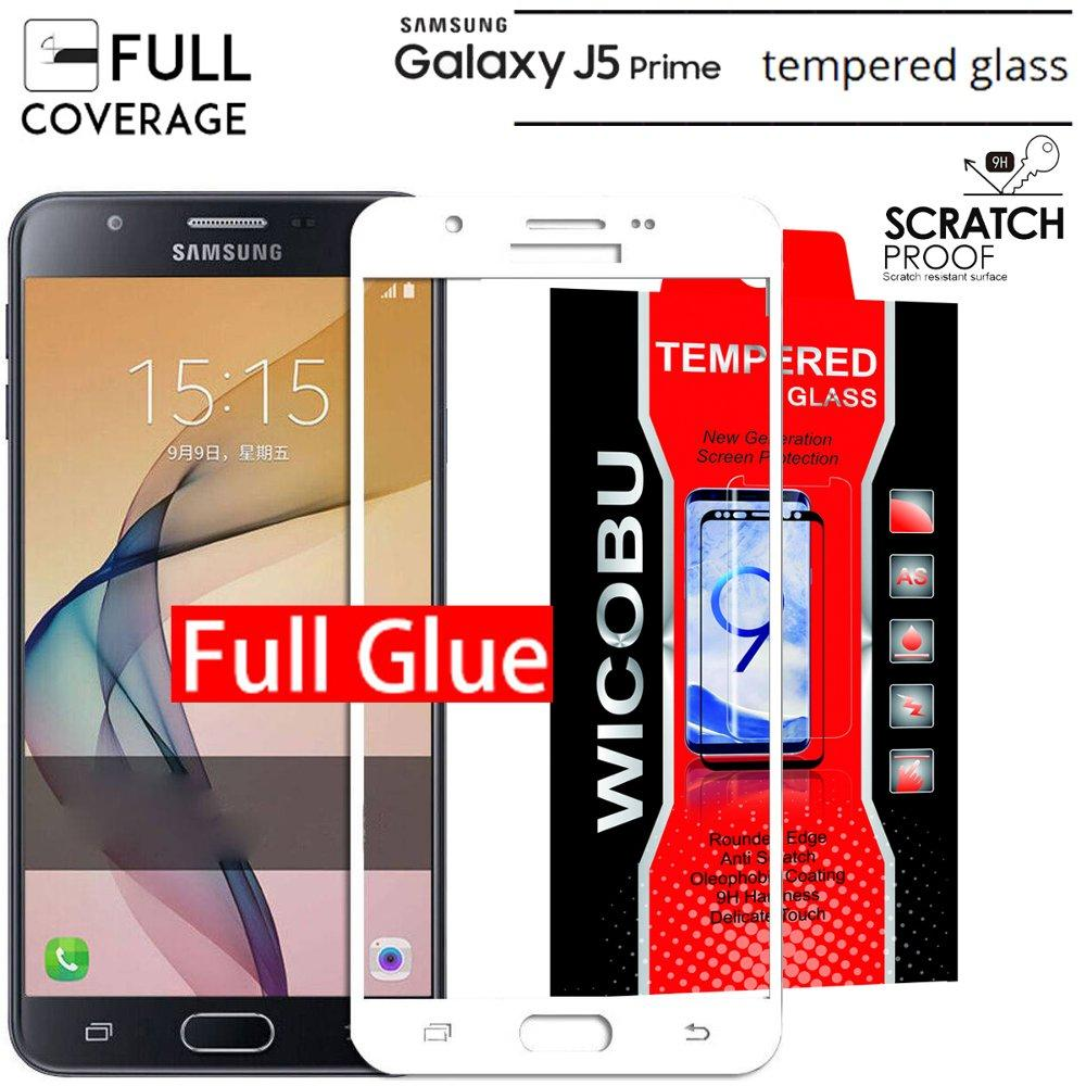 PUTIH FULL LEM/FULL GLUE Tempered Glass NEW KACA Xiaomi samsung galaxy j5 prime Wicobu
